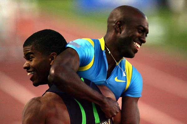 Trammell and Johnson celebrate at the USATF (Getty Images)