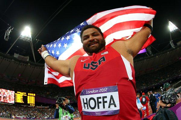 Reese Hoffa of the United States celebrates his bronze medal in the Men's Shot Put Final on Day 7 of the London 2012 Olympic Games at Olympic Stadium on August 3, 2012 (Getty Images)