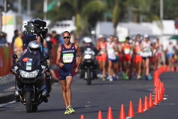 Yohann Diniz leads the 50km race walk at the Rio 2016 Olympic Games (Getty Images)