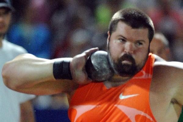Christian Cantwell spins to a 22.16m blast in Zagreb (Zagreb organisers)
