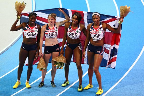 The British women's 4x400m team celebrate their European indoor gold medal (Getty Images)