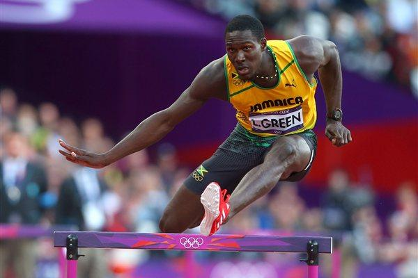 Leford Green of Jamaica competes in the Men's 400m Hurdles Semi Final on Day 8 of the London 2012 Olympic Games at Olympic Stadium on August 4, 2012 (Getty Images)