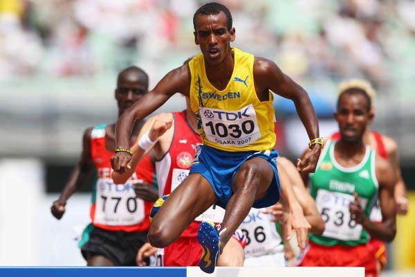 Mustafa Mohamed of Sweden in the men's 3000m Steeplechase in Osaka (Getty Images)