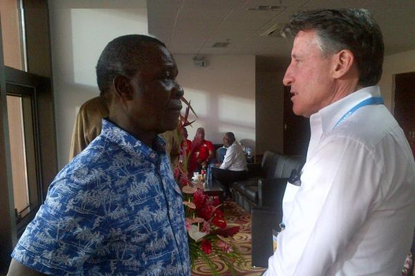IAAF President Coe in conversation with the Prime Minister of Grenada, Hon Keith Mitchell at the 2016 Carifta Games (CARIFTA)