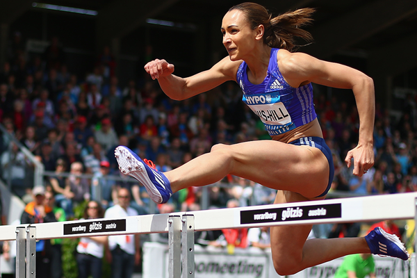 Jessica Ennis-Hill in the heptathlon 100m hurdles (Getty Images)