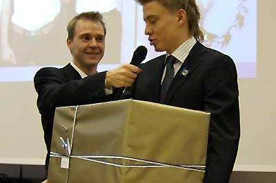 Jukka Keskisalo (right) after receiving his athlete of the year award (Chris Turner - IAAF)