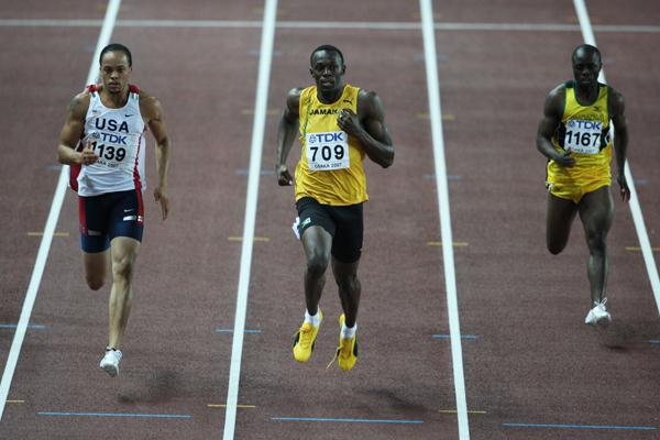 Usain Bolt of Jamaica in action in the 200m Semi-Finals (Getty Images)