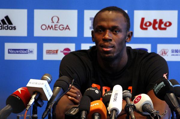 Usain Bolt on the eve of the Memorial van Damme in Brussels (Bob Ramsak)