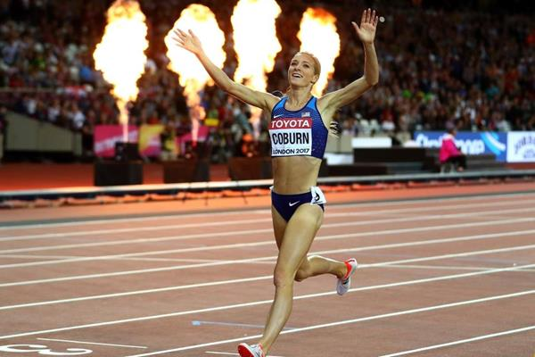 Emma Coburn wins the 3000m steeplechase at the IAAF World Championships London 2017 (Getty Images)