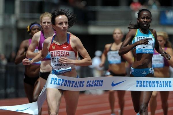 Mariya Savinova takes down a strong Eugene field in 1:57.56 (Kirby Lee)