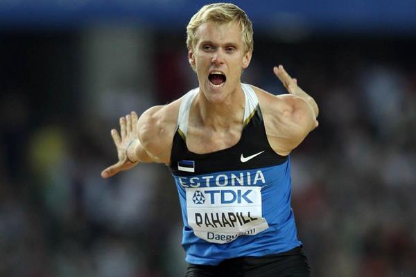 Mikk Pahapill of Estonia celebrates during the decathlon high jump at the 2011 IAAF World Championships in Daegu (Getty Images)