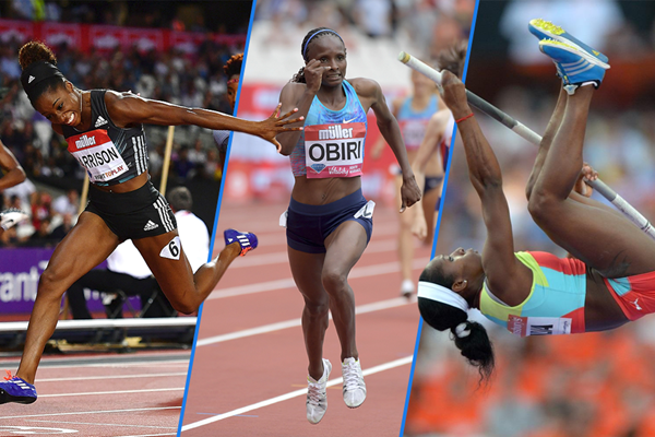 Kendra Harrison, Hellen Obiri and Yarisley Silva in action at the IAAF Diamond League meeting in London (Kirby Lee / Getty Images)