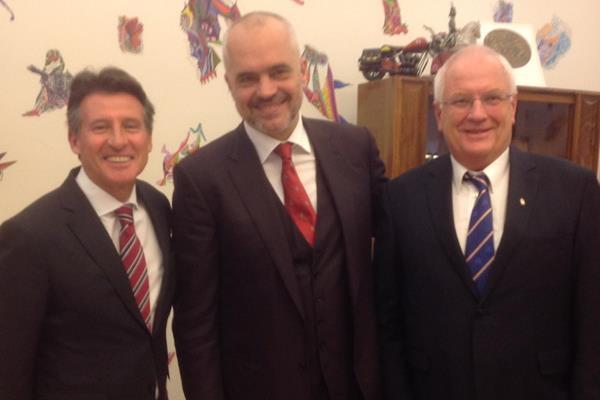 IAAF President Sebastian Coe, Albanian Prime Minister Edi Rama and European Athletics President Svein-Arne Hansen (IAAF)