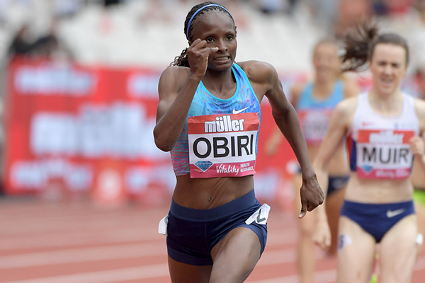 Hellen Obiri on her way to winning the mile at the IAAF Diamond League meeting in London (Kirby Lee)
