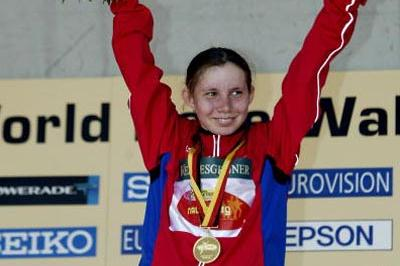 Vera Sokolova (RUS) celebrates winning World Cup Junior race (Getty Images)