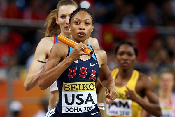 Allyson Felix of USA competing in the Women's 4 x 400m relay which the USA won (Getty Images)
