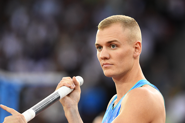 Pole vault winner Sam Kendricks at the IAAF Diamond League final in Zurich (Jiro Mochizuki)