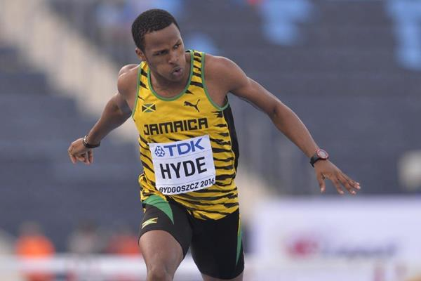 Jaheel Hyde wins the 400m hurdles at the IAAF World U20 Championships Bydgoszcz 2016 (Getty Images)