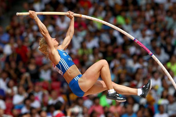 Nikoleta Kyriakopoulou in the pole vault qualification at the IAAF World Championships, Beijing 2015 (Getty Images)