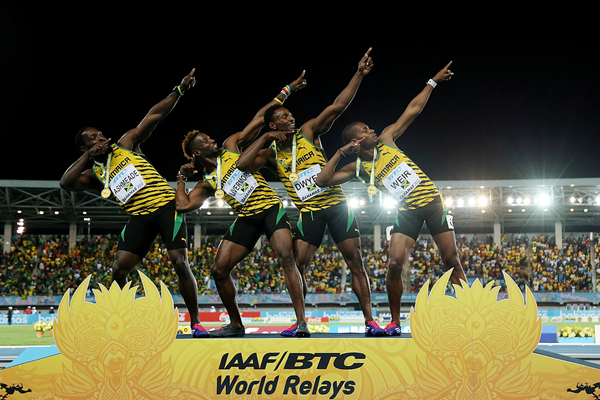 The victorious Jamaican 4x200m team at the IAAF World Relays (Getty Images)