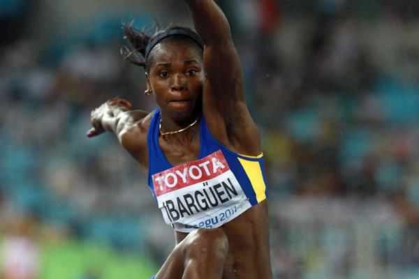 Caterine Ibarguen of Columbia in action during the women's triple jump final in Daegu (Getty Images - Bongarts)