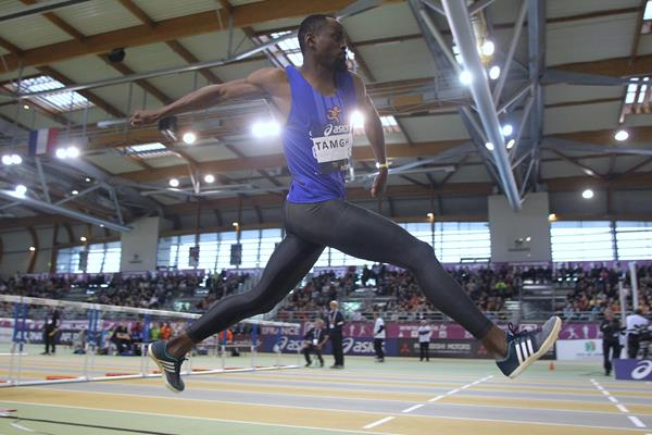 Teddy Tamgho at the 2016 French indoor championships (Jean-Pierre Durand)