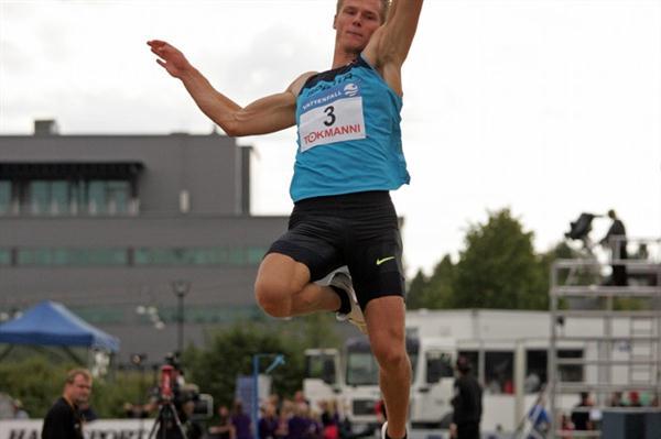 Morten Jensen leaps 8.10m at the Vattenfall Elite Games in Joensuu (Paula Noronen)