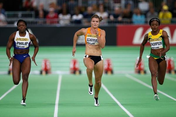 Elaine Thompson of Jamaica takes victory in the 60m semifinal ahead of Dafne Schippers and Asha Philip at the IAAF World Indoor Championships Portland 2016 (Getty Images)