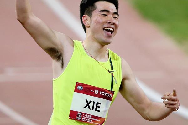 Xie Wenjun, winner of the 110m hurdles in Shanghai (Getty Images)