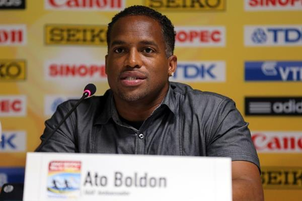 Ato Boldon at the IAAF/BTC World Relays, Bahamas 2015 press conference (Getty Images)