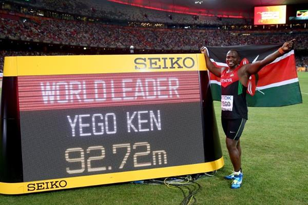 Julis Yego next to the javelin scoreboard at the IAAF World Championships, Beijing 2015 (Getty Images)