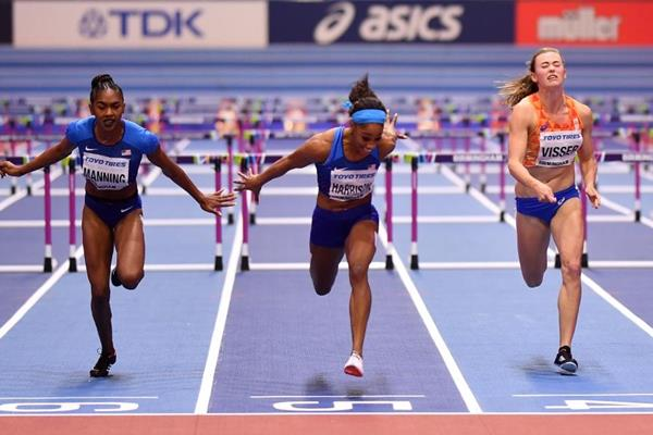Christina Manning, Kendra Harrison and Nadien Visser at the IAAF World Indoor Championships Birmingham 2018 (Getty Images)