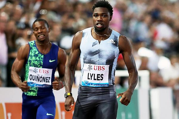 Noah Lyles dashes to a 19.50 meeting record in the 200m at the IAAF Diamond League meeting in Lausanne (Giancarlo Colombo)