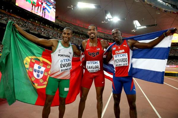 Triple jump medallists Christian Taylor (centre), Pedro Pablo Pichardo (right) and Nelson Evora (left) at the IAAF World Championships, Beijing 2015 (Getty Images)