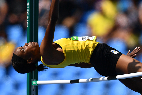 Levern Spencer in the high jump at the Rio 2016 Olympic Games (AFP / Getty Images)