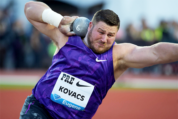 Joe Kovacs at the IAAF Diamond League meeting in Eugene (Kirby Lee)