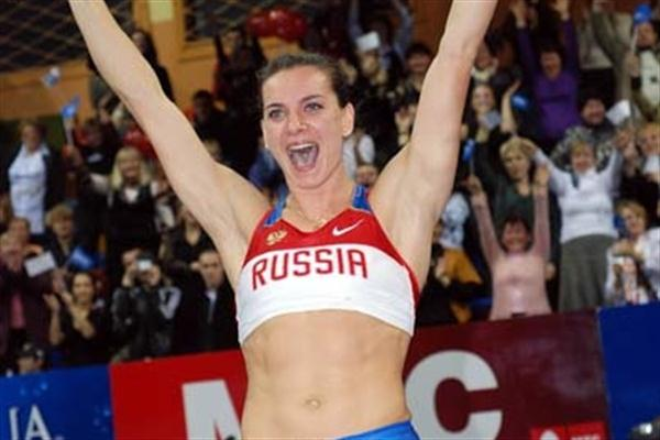 Yelena Isinbayeva celebrates 5m World indoor record in Donetsk in 2009 (Zepter)