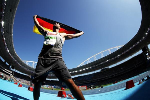 Christoph Harting celebrates his victory in the discus at the Rio 2016 Olympic Games (Getty Images)