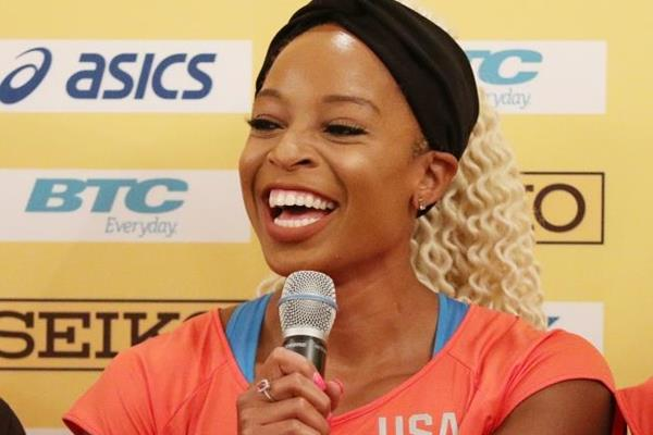 USA's Natasha Hastings at the press conference ahead of the IAAF/BTC World Relays Bahamas 2017 (Getty Images)