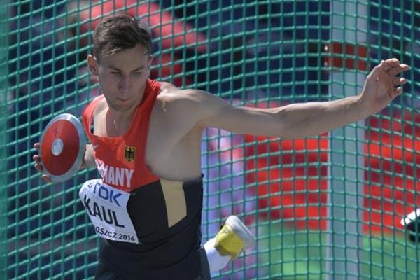 Niklas Kaul of Germany competes in the decathlon discus throw at the IAAF World U20 Championships Bydgoszcz 2016 (Getty Images)