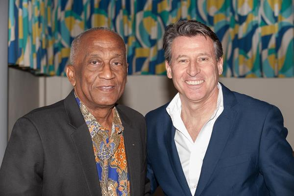 IAAF President Coe with the founder of the CARIFTA Games, Sir Austin Sealy (CARIFTA)