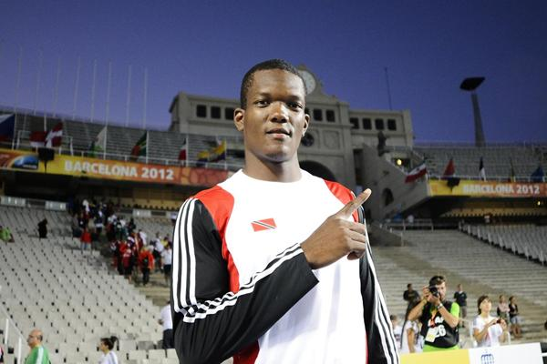 Keshorn Walcott of Trinidad & Tobago celebrates after winning the men's Javelin final at the IAAF World Junior Championships in Barcelona (Getty Images)