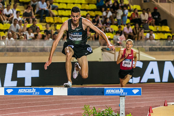 Soufiane El Bakkali in the steeplechase at the IAAF Diamond League meeting in Monaco (Philippe Fitte)