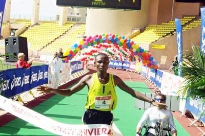 Geoffrey Mutai of Kenya winning the 2008 Monaco Marathon (Monaco Marathon)