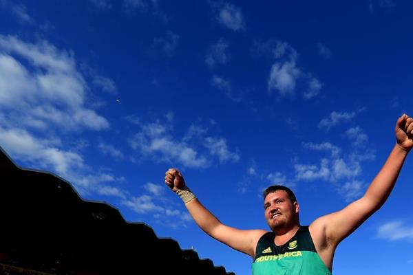 Shot put winner Kyle Blignaut at the IAAF World U20 Championships Tampere 2018 (Getty Images)