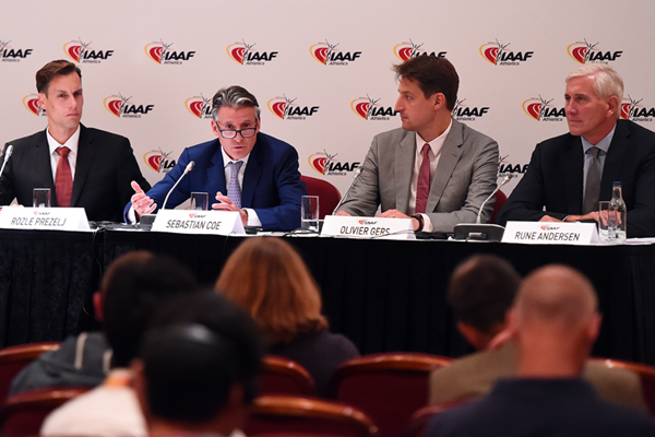 IAAF Athletes Commission chair Rozle Prezelj, IAAF President Sebastian Coe, IAAF CEO Olivier Gers and Taskforce independent chairperson Rune Andersen at the press conference following the 210th IAAF Council Meeting (Getty Images)