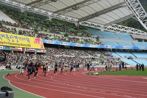 Start of the men's 200m at Daegu 2008 meeting - the stadium will host the 2011 World Championships in Athletics (Daegu 2011)
