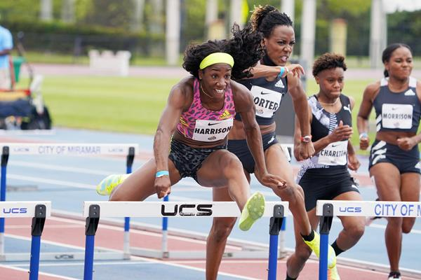 Kendra Harrison on her way to winning the 100m hurdles at the Miramar Invitational (Kirby Lee)