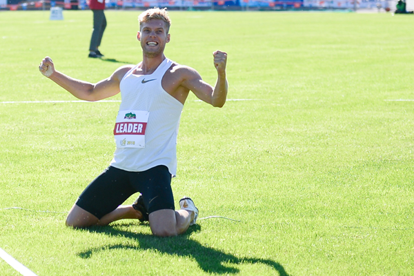 Kevin Mayer celebrates at the Decastar meeting in Talence (AFP / Getty Images)