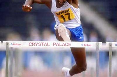 Renaldo Nehemiah (USA) seen racing in London's Crystal Palace in the late 1980s (Getty Images)